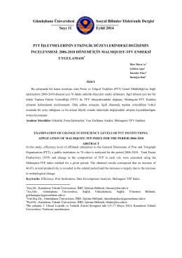 PTT İşletmelerinin Etkinlik Düzeylerindeki Değişimin İncelenmesi