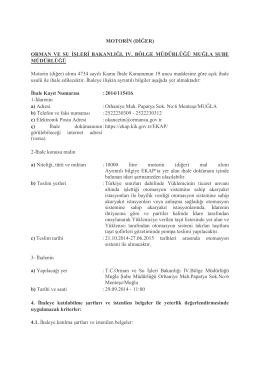 MOTORİN (DİĞER) ORMAN VE SU İŞLERİ BAKANLIĞI, IV. BÖLGE