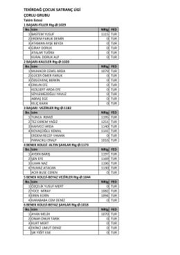 Çorlu Çocuk Ligi Takım Listesi