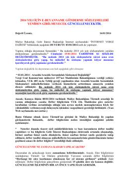2014 yılı için e-beyanname gönderme sözleşmeleri yeniden