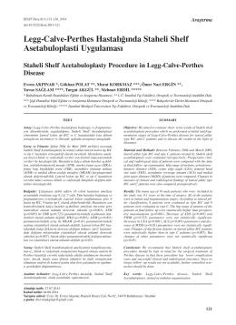 Legg-Calve-Perthes Hastalığında Staheli Shelf Asetabuloplasti