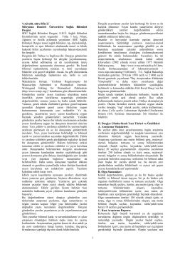 Dergi Yazım Kuralları - Sağlık Bilimleri Enstitüsü