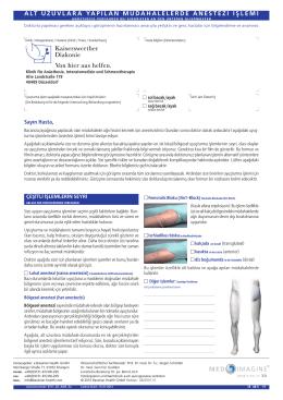 alt uzuvlara yapılan müdahalelerde anestezi işlemi