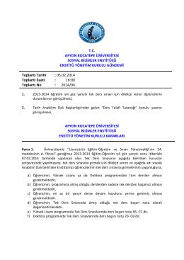 05.02.2014 Tarih ve 2014-04 Sayılı Karar