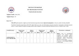 2014-2015 Eğitim-Öğretim Yılı Güz Yarıyılında Lisansüstü
