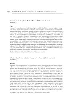 Sadık YAZAR, XVI. Yüzyılda Yazılmış Türkçe Bir Aruz Risalesi: Aşkî