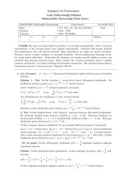 Mühendislik Fakültesi, Gıda Mühendisliği, Mühendislik Matematiği