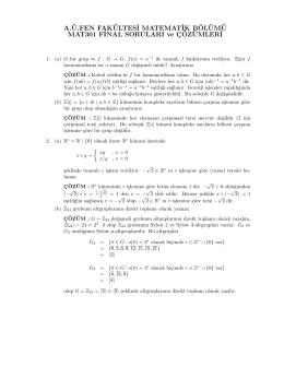 MAT301 Cebir I Final Soruları ve Çözümleri