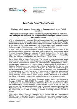 Two Firsts From Türkiye Finans - Türkiye Finans Katılım Bankası
