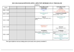 2013-2014, Bahar, bitirme sınav prog.