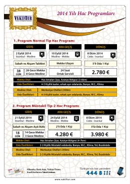 2014 Yılı Hac Programları - VAKFE TUR Turizm ve Seyahat Acentası