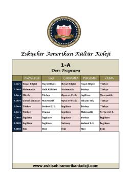 1-A Ders Programı - Eskişehir Amerikan Kültür Koleji Resmi Sitesi