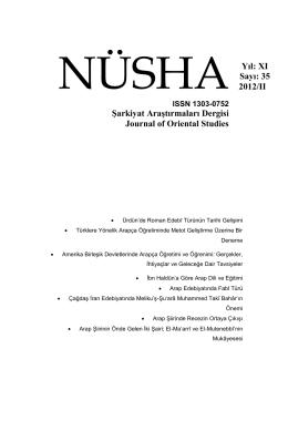 Yıl: XI Sayı: 35 2012/II Şarkiyat Araştırmaları Dergisi Journal of