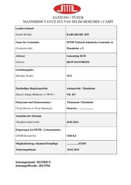 Satzung (pdf) - Türkisch Islamische Gemeinde zu Mannheim eV