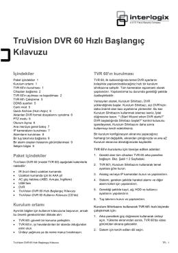 TruVision DVR 60 Hızlı Başlangıç Kılavuzu