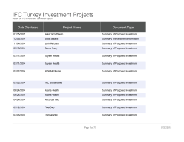IFC Turkey Investment Projects