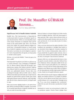 Prof. Dr. Muzaffer GÜRAKAR Anısına