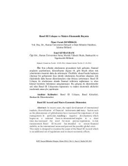 Basel III Uzlaşısı ve Makro Ekonomik Boyutu