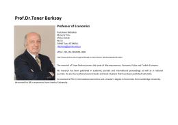 Prof.Dr.Taner Berksoy Professor of Economics