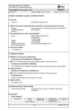 bETACAROTENE - Malzeme Güvenlik Bilgi Formu ( MSDS )