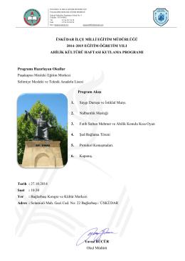 üsküdar ilçe milli eğitim müdürlüğü 2014–2015 eğitim öğretim yılı