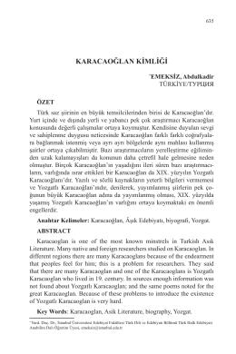 EMEKSİZ, Abdulkadir-KARACAOĞLAN KİMLİĞİ