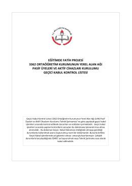 Fatih Projesi Kabul İşlemleri - Tunceli Milli Eğitim Müdürlüğü