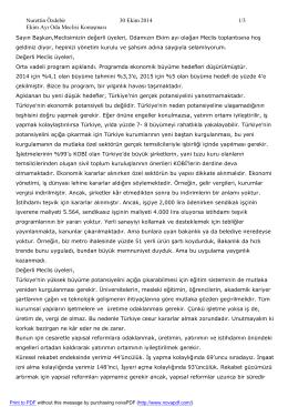 Nurettin Özdebir 30 Ekim 2014 1/3 Ekim Ayı Oda Meclisi Konuşması