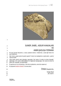 53 Sumer, Babil, Assur Kanunları
