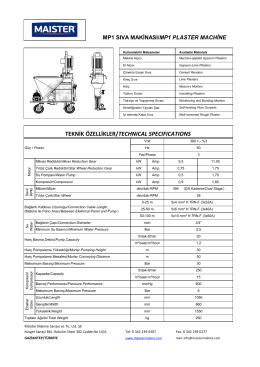 MP1 Compact Sıva Makinalarına ait teknik özellikler için tıklayınız.