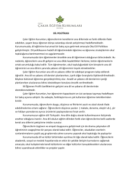 Dil Politikası - Özel Çakır Eğitim Kurumları