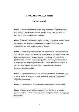 Yayın İlkeleri - Ankara Araştırmaları Dergisi