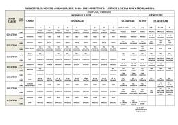 2014-2015 Eğitim Öğretim Yılı 1. Dönem 1. Ortak Sınav Programı