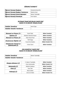 2013 Akademik Yılı Öğrenci Konseyi Yönetim Kurulu
