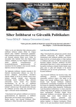 Siber İstihbarat ve Güvenlik Politikaları
