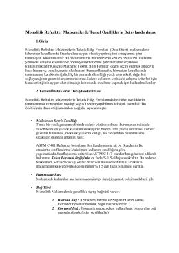 Monolitik Refrakter Malzemelerin Teknik Bilgi Formları