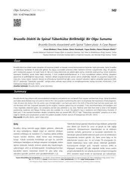 143 Brucella Diskiti ile Spinal Tüberküloz Birlikteliği: Bir Olgu Sunumu