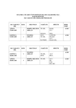 istanbul ticaret üniversitesi 2013-2014 akademik yılı bahar dönemi