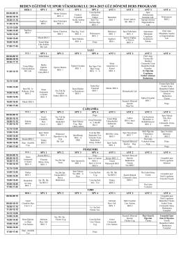 2014-2015 Öğretim Yılı Güz Dönemi Güncellenmiş Ders Programı