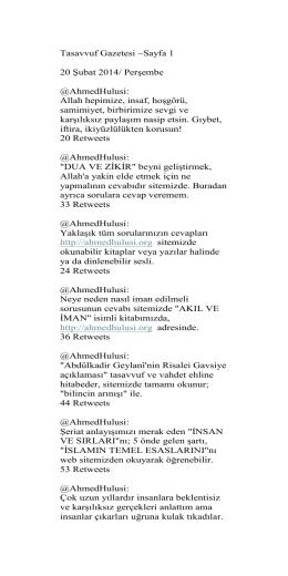 Tasavvuf Gazetesi ~Sayfa 1 20 Şubat 2014