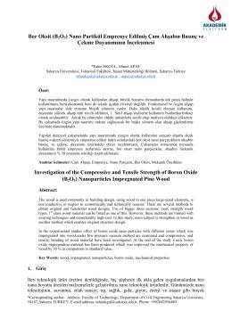 Bor Oksit (B2O3) Nano Partikül Emprenye Edilmiş Çam Ahşabın