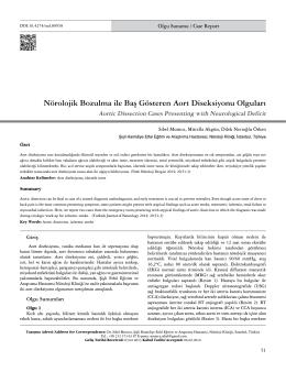 Nörolojik Bozulma ile Baş Gösteren Aort Diseksiyonu