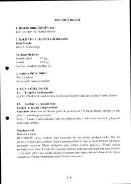 KISA URUN BiLGiSt 1. BESERI TIBBI URUNUN ADI RECTODERM