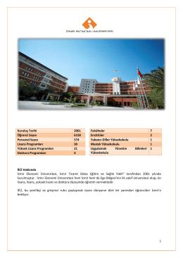 1 Kuruluş Tarihi 2001 Fakülteler 7 Öğrenci Sayısı 6158 Enstitüler 2