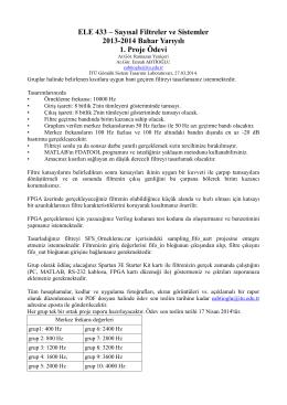 ELE 433 – Sayısal Filtreler ve Sistemler 2013-2014