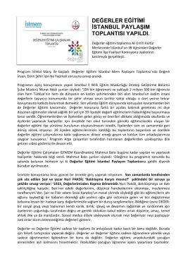 değerler eğitimi istanbul paylaşım toplantısı yapıldı.