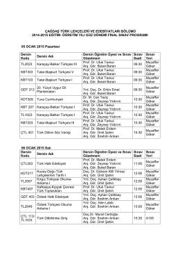 çağdaş türk lehçeleri ve edebiyatları bölümü 2014