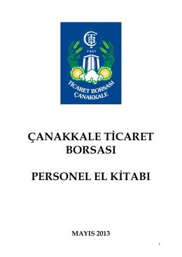 çtb personel el kitabı - Çanakkale Ticaret Borsası