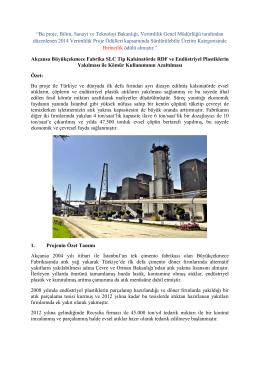 SLC Tip Kalsinatörde RDF ve Endüstriyel Plastiklerin Yakılması