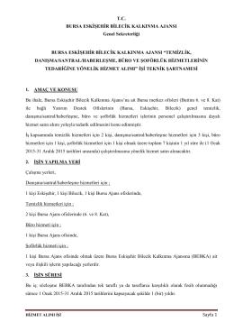 Sayfa 1 TC BURSA ESKİŞEHİR BİLECİK KALKINMA AJANSI Genel